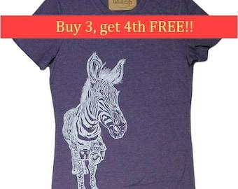 Funny Tshirts Women - Zebra Tee - Womens Animal T Shirt - Purple Womens Tees - Camera Tshirts - Purple Womens Shirt - Funny Animal Tshirts