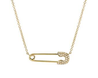 Diamond safety pin necklace, Zoe Lev Jewelry