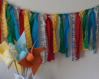 Rag Tie Garland Birthday decoration Wedding Garland Circus Party Rag Tie Banner Garland Rag tie Fabric banner  (Custom orders welcomed)