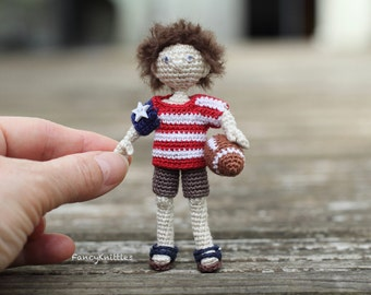 American Boy Doll, USA Flag T-shirt, Crochet Art Dol,l Miniature Collectable Toy, July 4th Independence Day Gift, Interior Doll, Amigurumi