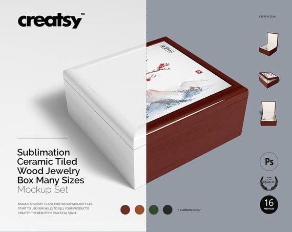 Sublimation Ceramic Tiled Wood Jewelry Box Many Sizes Mockup