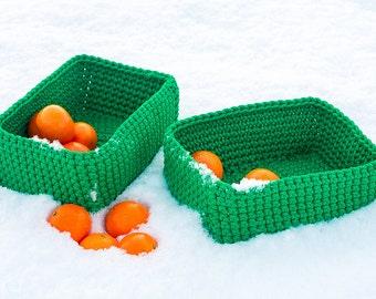 """Green crochet baskets """"Emerald"""", basket duet, crochet basket set, handmade baskets, knit basket, LaceMats"""