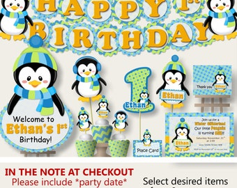 Penguin Party For Baby Shower Or Birthday Party Decorations  Party Package,  Banner, Penguin Cake Topper, Cupcake, Blue And Green
