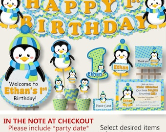Penguin Party For Baby Shower Or Birthday Party Decorations  Party Package,  Banner, Penguin