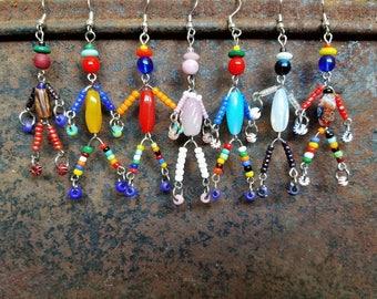 SIDEKICK friend little man/woman/person beaded boho OOAK earrings dangle drop friendship gift/bridesmaid gift SusanRodebushArts