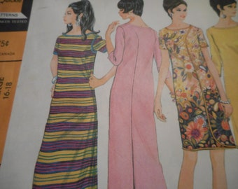 Vintage 1960's McCall's 9181 Wrap-Arounder Dress Sewing Pattern Size Large 16-18 Bust 38-40