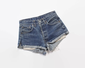 Vintage 60s Levi's Cut-Offs / 1960s Redlines Selvedge Blue Denim 501s Shorts