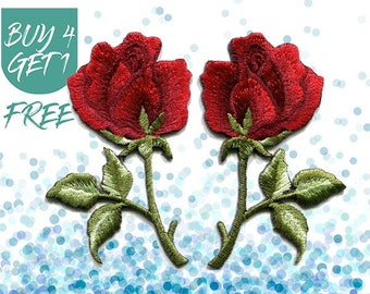 Flower Patches Red Rose Patch Iron On Patch Embroidered Patch Love Romantic
