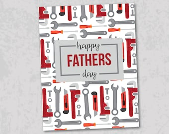 Fathers Day Card with tools, blank inside