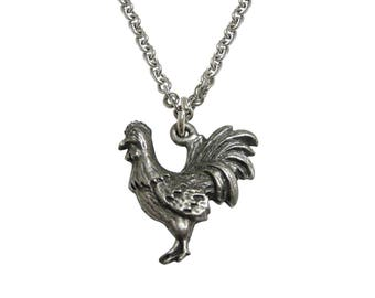 Silver Toned Textured Rooster Chicken Bird Pendant Necklace