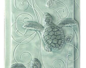 Ceramic tile, art tile, Magic Triptych, baby sea turtles, Loggerhead sea turtles