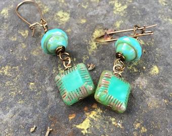 Czech Glass Geometric Earrings   Blue Green Square Earrings   Boho Earrings   Product id:  TGCZG217