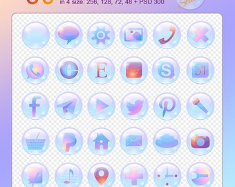 A set of 30 gentle shiny pearl digital social media icons on a transparent background 4 web-sizes + 1 PSD-file