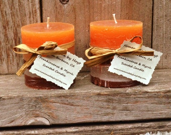 SALE: Pair of Frankincense and Myrrh Scented Tiny Round Pillar Candles