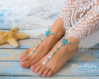 Something blue Starfish Barefoot sandals, Beach wedding barefoot sandals, Pearl and rhinestone footless sandals, barefoot jewelry