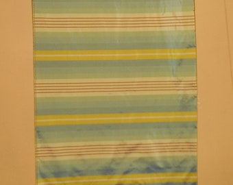 Vintage silk fabric panel from India 1980s,  Arona Coxon Stripe 27 x 27