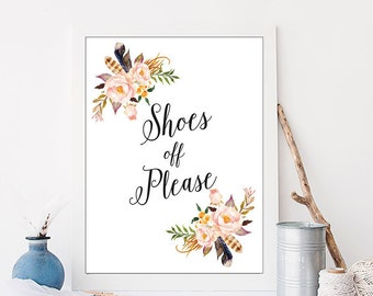 Shoes Off Please Entry Way Wall Art Calligraphy Typography Printable Foyer Wall Art Hallway Wall Art Apartment Decor Floral Wall Art