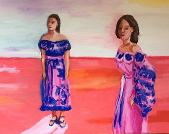 Fashionable Women in Ultramarine Blue and Pink Dresses Original Oil Painting