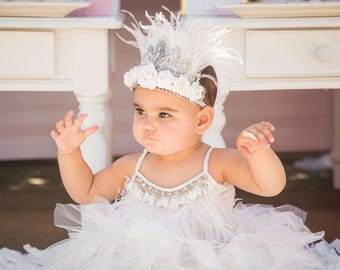 Swan Princess || bohemian swan princess feather crown || silver lace tiara with white wispy feathers || tie back || photography prop