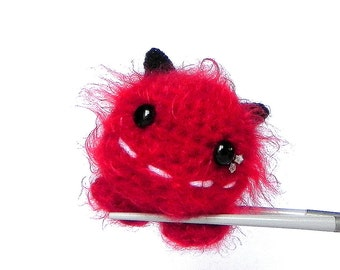 Crochet amigurumi - Fire Ball MochiQtie - Amigurumi crocheted mini stuffed monster toy doll