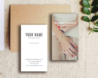Photography Templates - Wedding Photography Business Card Template - Digital Photoshop Templates - Vertical Business Card Design