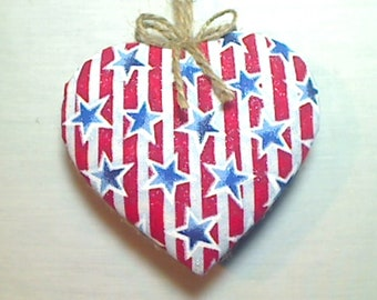 Large Americana Heart Ornament | Patriotic Decor | Red White & Blue | Party Favor | Tree Ornament | July 4th | Independence Day | # 4
