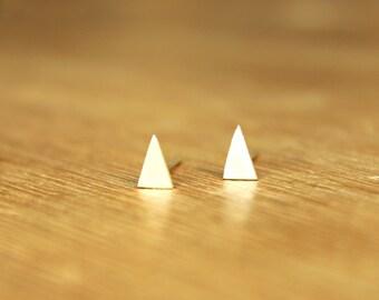 Tiny Triangle stud Earrings- geometric single mini banner flag-Sterling Silver