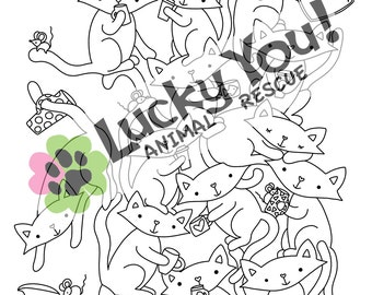 Cat Coloring Page, Printable Coloring Book Pages, Animal Rescue Charity, Pets, Gifts for Her, Meow, Kitty, Fundraiser, Furbabies, Coffee