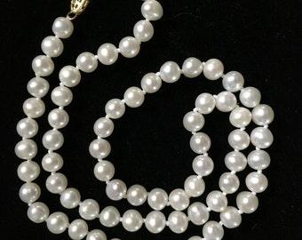 "Vintage Pearl Necklace w/ 14K Filigree Clasp 18"""