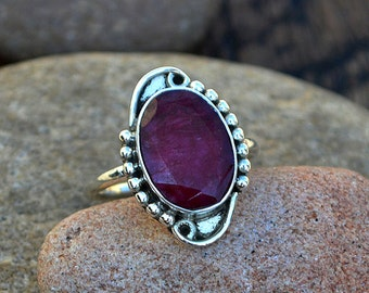 Ruby Gemstone Ring, Designer Statement Ring, 925 Sterling Silver Ring, Faceted Ruby Gemstone Ring, Yellow Gold Ruby Ring, Select Your Size