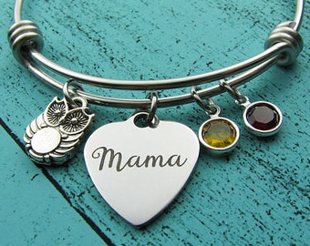 Gift for Mom bracelet, new Mom of twin, Mama owl birthday gift, wife gift, birthstone, Mothers Day gift, mommy jewelry, owl loves you
