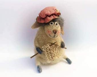Needle felt sheep , Wool sheep , Art doll , Sheep doll , Felted Sheep , Knitting sheep , Decorative doll , Handmade doll , Interior doll