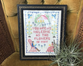 Vintage Cross Stitch Embroidered Wall Hanging