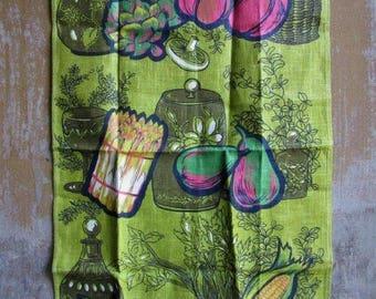 Vintage Retro Mod Linen Tea Towel, Vegetables,Polish Linen Tea Towel, Veggie Lovers Gift, Wall Hanging, Avocado Green Garden Kitchen, Unused