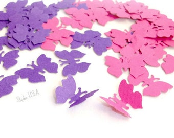 120  Mixed Hot Pink & Purple  small Butterfly Confetti, Cut-outs, or Choose your Colors- Set of 120 pcs