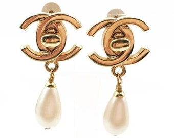 Chanel 24K Gold Plated CC Turnlock Faux Pearl Clip on Earrings
