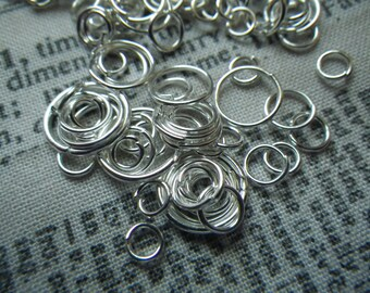 Silver Plated Jump Ring Mix 4-10mm 1 ounce about 200 pieces