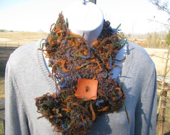 SALE - Funky Fun Fabulous Scarflette Scarf  with button - by Happy Campers of the South (SCRF017)
