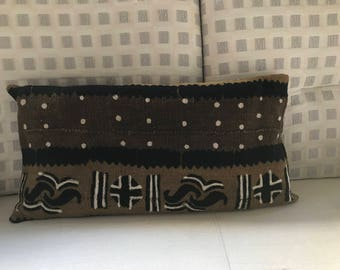 tribal Brown and ochre Bogolan Cushion cover