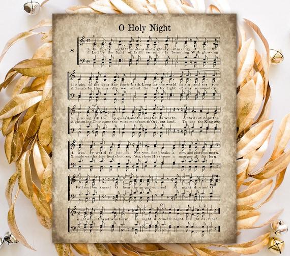 O Holy Night Printable Christmas Hymn Vintage Carol Instant