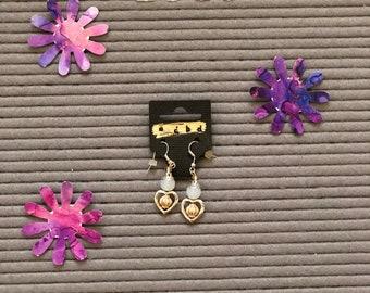 Heart moon bead earrings
