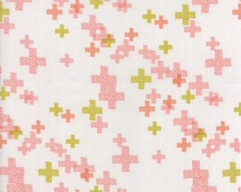 One Yard Cut - Peach Blossom on Fog Pluses - Modern BG Colorbox Backgrounds by Zen Chic Fabrics for Moda -  Quilters Cotton