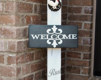 Decorative Farmhouse Porch Post,Country Porch Post,Welcome Porch Post