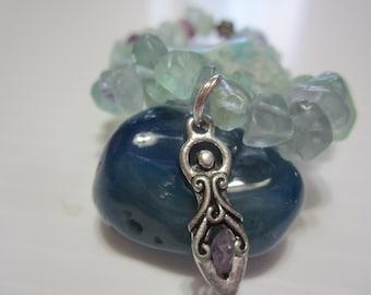 Goddess Gemstone Bracelet, Goddess Jewelry, Flourite Crystal Chips Bracelet, Goddess Charm with Amethyst Chip, Goddess Bracelet, Gemstones