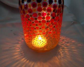 Quart mason Jar with rising sun colors