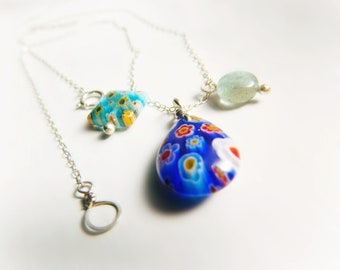 Millefiori Charm Necklace - Sterling Silver / Ocean Blue