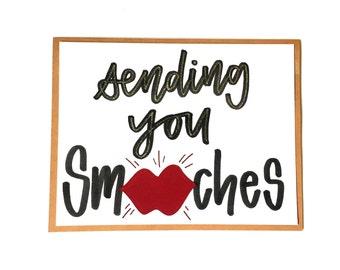 Sending you Smooches, Handmade Card, Hugs & Kisses, Free Shipping