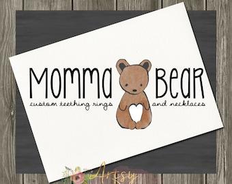 Bear Logo Design, Premade Logo, Instant Download Logo, Watercolor Logo, DYI Logo, PSD Logo Template,  Custom Logo Design, Logo #22