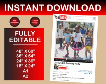 Customized YouTube Frame Prop! Photo Booth YouTube Prop! (DIGITAL FILE)