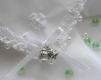 Irish Wedding Handkerchief Shamrock White Wedding Bells Irish History Four Leaf Clover Pearls Crystals Thread Crochet by handcraftusa